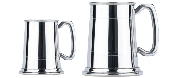 100MB Plain Lined Pewter Tankards